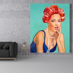 Canvas 48 x 60 - Pin up girl with curlers