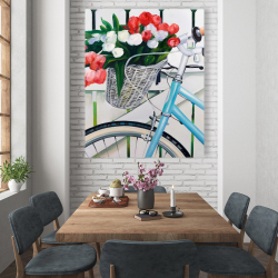 Canvas 48 x 60 - Bicycle with tulips flowers in basket