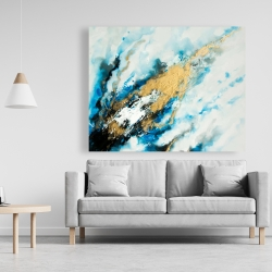 Canvas 48 x 60 - Blue and gold marble