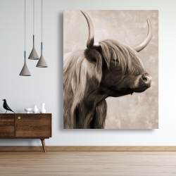 Canvas 48 x 60 - Beautiful highland cattle sepia