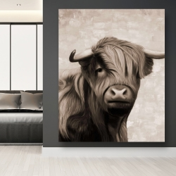 Canvas 48 x 60 - Highland cattle sepia