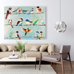 Canvas 48 x 60 - Small abstract colorful birds