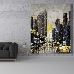 Canvas 48 x 60 - Abstract and texturized city with yellow taxis