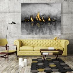 Canvas 48 x 60 - Gold sailboats