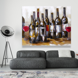 Canvas 48 x 60 - Red wine bottles