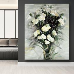 Canvas 48 x 60 - Lisianthus white bouquet