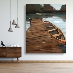 Canvas 48 x 60 - Lake, dock and boat