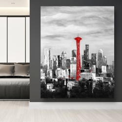 Canvas 48 x 60 - Space needle in red