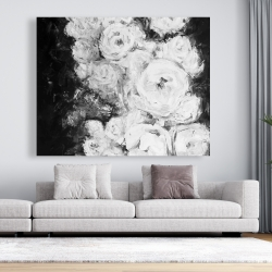 Canvas 48 x 60 - Monochrome rose garden
