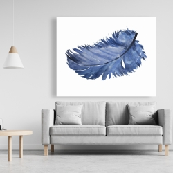 Canvas 48 x 60 - Watercolor blue feather