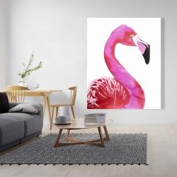 Canvas 48 x 60 - Watercolor proud flamingo profile