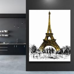 Canvas 48 x 60 - Outline of eiffel tour