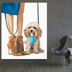 Canvas 48 x 60 - Fashionable cavoodle dog