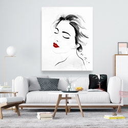 Canvas 48 x 60 - Right side watercolor serenely lady portrait