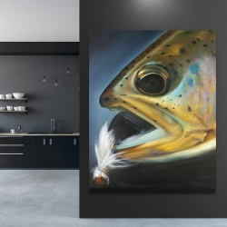 Canvas 48 x 60 - Golden trout with fly fishing flie