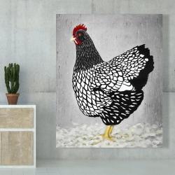 Canvas 48 x 60 - Black and white wyandotte hen