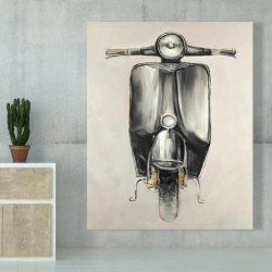 Canvas 48 x 60 - Small black moped