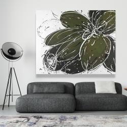 Canvas 48 x 60 - Green flower with splash outline