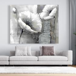 Canvas 48 x 60 - Industrial monochrome flowers