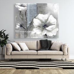 Canvas 48 x 60 - Monochrome and silver flowers