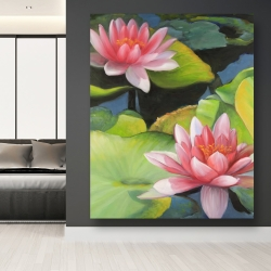 Canvas 48 x 60 - Water lilies and lotus flowers