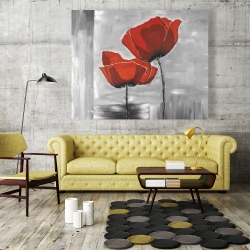 Canvas 48 x 60 - Two red flowers on a grayscale background