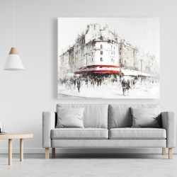 Canvas 48 x 60 - White street with red accents