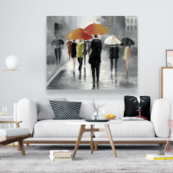 Canvas 48 x 60 - Street scene with umbrellas