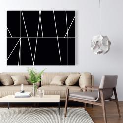 Canvas 48 x 60 - White stripes on black background