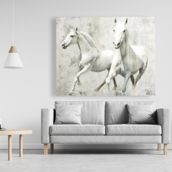 Canvas 48 x 60 - Two white horse running