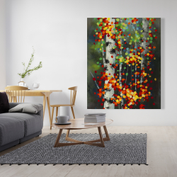 Canvas 48 x 60 - Colorful dotted leaves birches