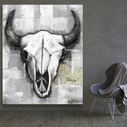 Canvas 48 x 60 - Industrial style bull skull