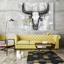 Canvas 48 x 60 - Bull skull on an industrial background