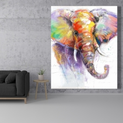 Canvas 48 x 60 - Beautiful and colorful elephant