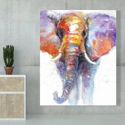 Canvas 48 x 60 - Colorful walking elephant