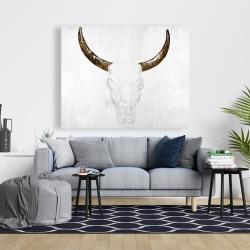 Canvas 48 x 60 - Bull skull with brown horns