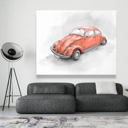 Canvas 48 x 60 - Vintage red beetle