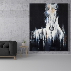 Canvas 48 x 60 - Abstract white horse on black background