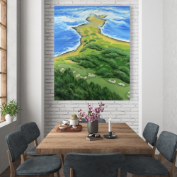 Canvas 48 x 60 - Island overhead view with waves