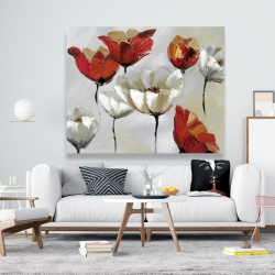 Canvas 48 x 60 - Abstract red and white flowers