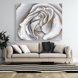 Canvas 48 x 60 - White rose delicate