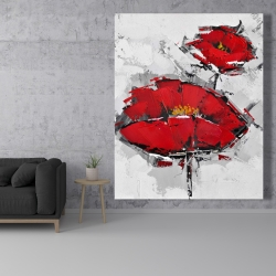 Canvas 48 x 60 - Texturized red poppies