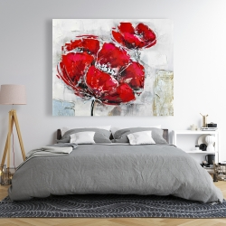 Canvas 48 x 60 - Abstract and texturized red flowers