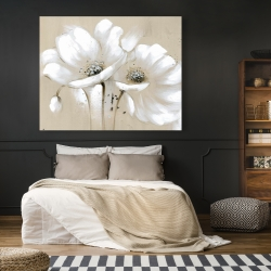 Canvas 48 x 60 - White abstract wild flowers