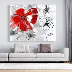 Canvas 48 x 60 - Red & gray flowers