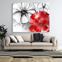 Canvas 48 x 60 - Red & white flowers sketch