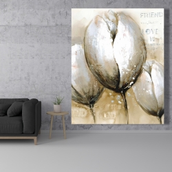 Canvas 48 x 60 - Three tulips with typography