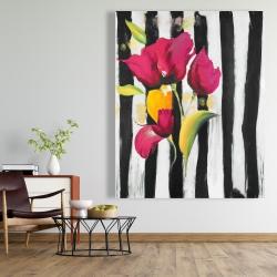 Canvas 48 x 60 - Pink flowers on black stripes