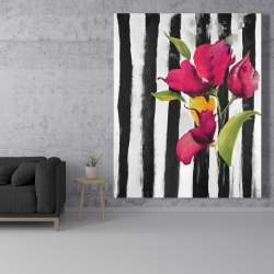 Canvas 48 x 60 - Flowers on black and white stripes