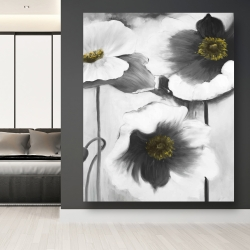 Canvas 48 x 60 - Black and white flowers